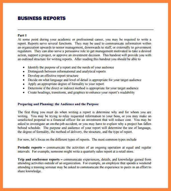 A sample business report format