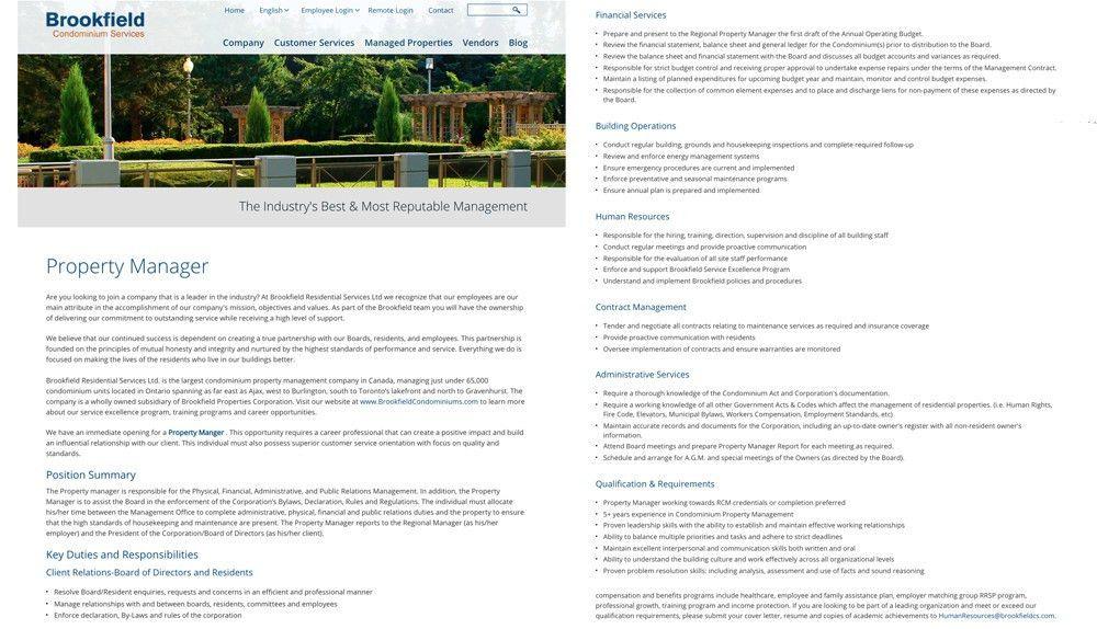 Property Manager Job Description. Senior Account Manager Job ...