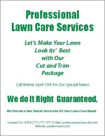 Lawn Maintenance Flyers | The Letter Sample