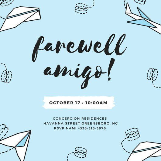Skyblue Paperplanes Farewell Party Invitation - Templates by Canva