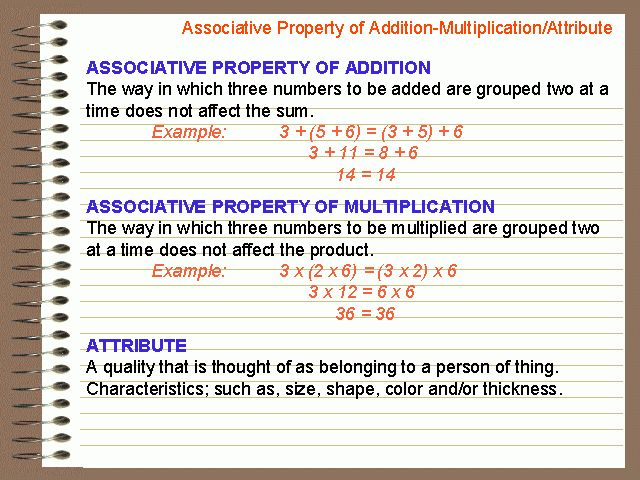 Associative Property of Addition-Multiplication/Attribute