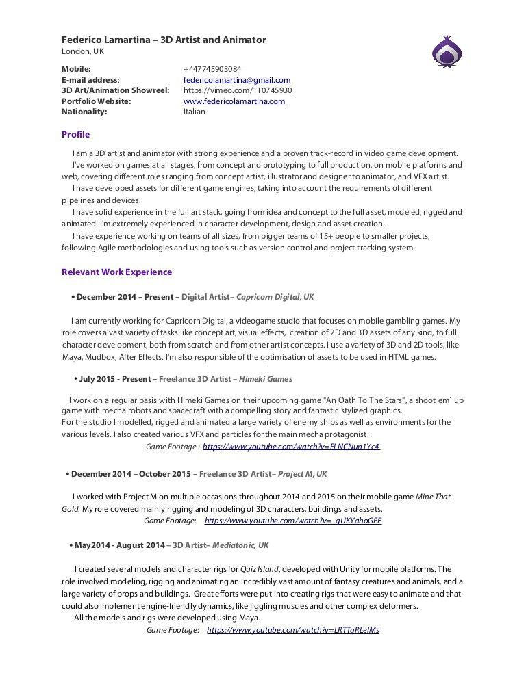 3d Artist Resume Format - Contegri.com