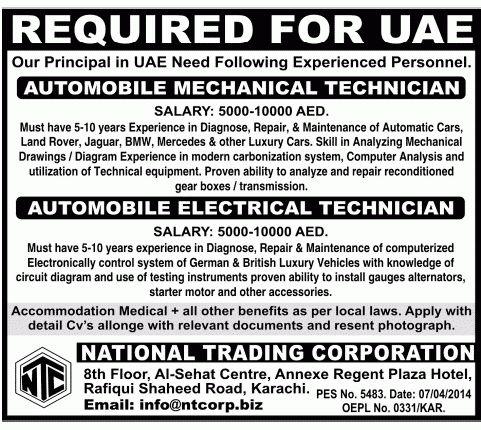 Automobile Electrical Technician Job, USA Principal Job ...