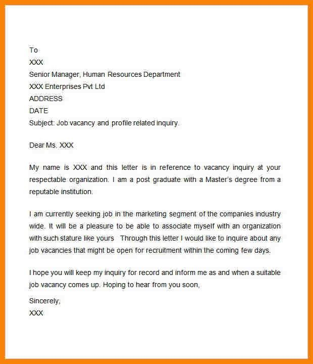 email sample for job