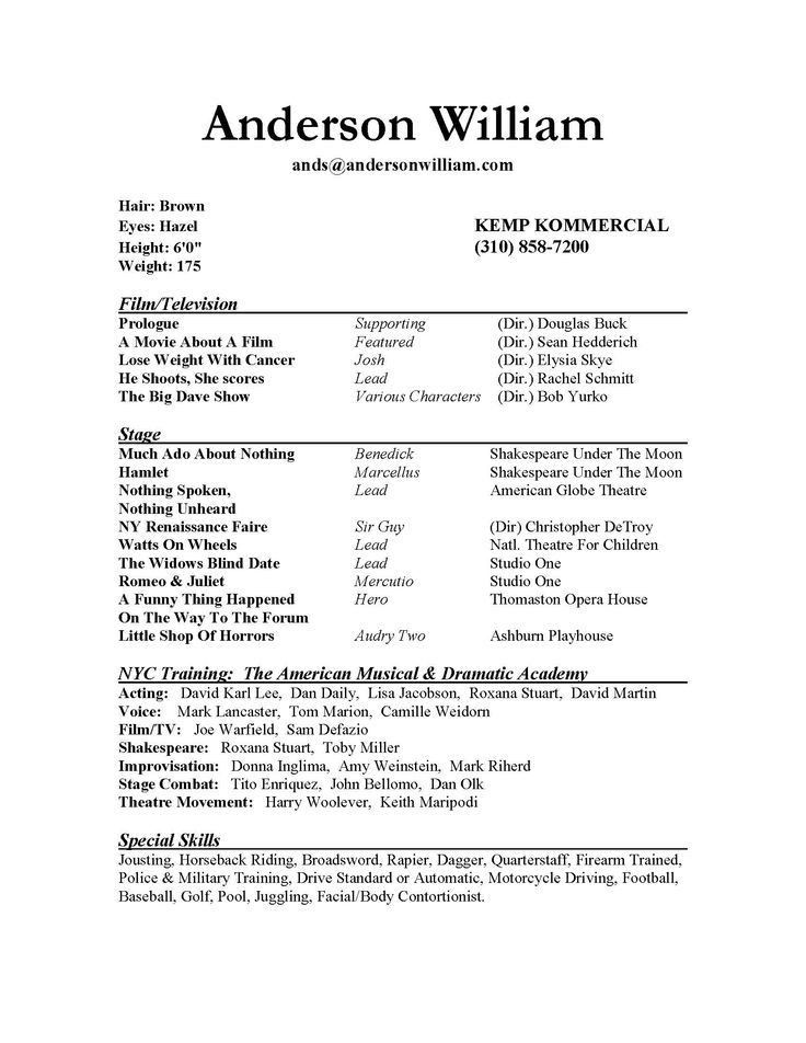 resume. student actor resume template. acting resume template ...
