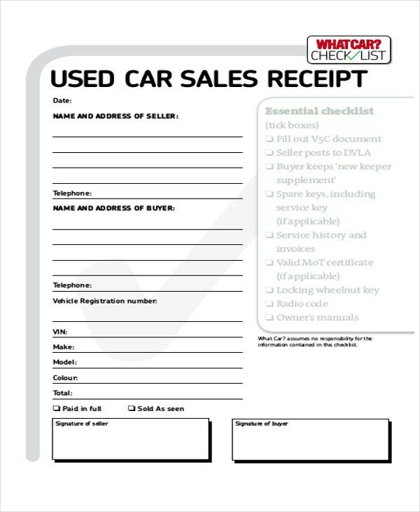 7+ Cash Sale Receipt Samples - Examples in Word, PDF