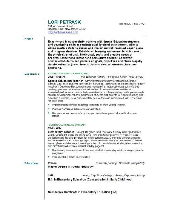 sample resume elementary teacher teacher resume sample page 1