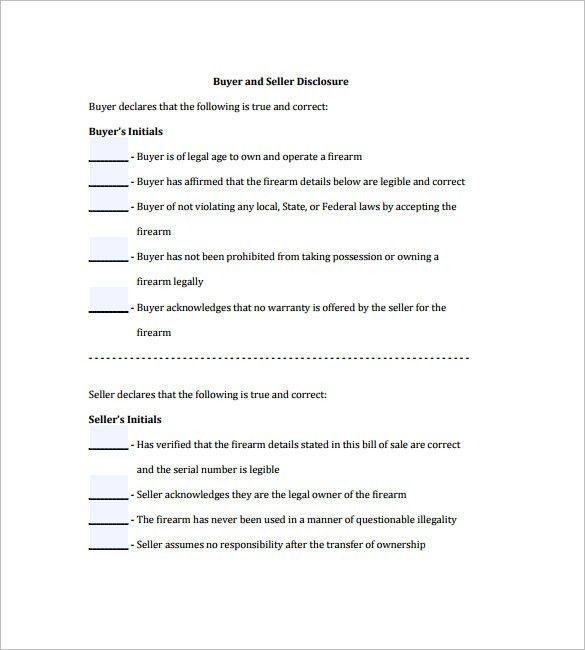 Gun Bill of Sale Template – 10+ Free Word, Excel, PDF Format ...