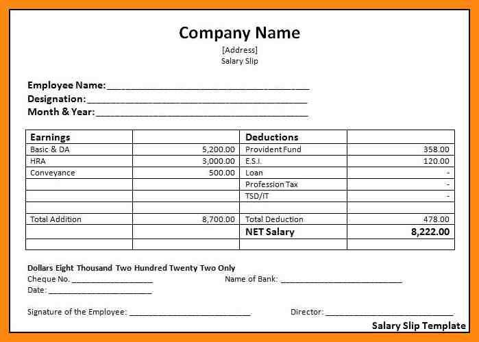 Salary Pay Slip Excel Format