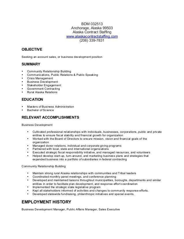 Business Development Manager Resume BSD 032513