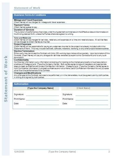 Statement Of Work Template Consulting | Template Business