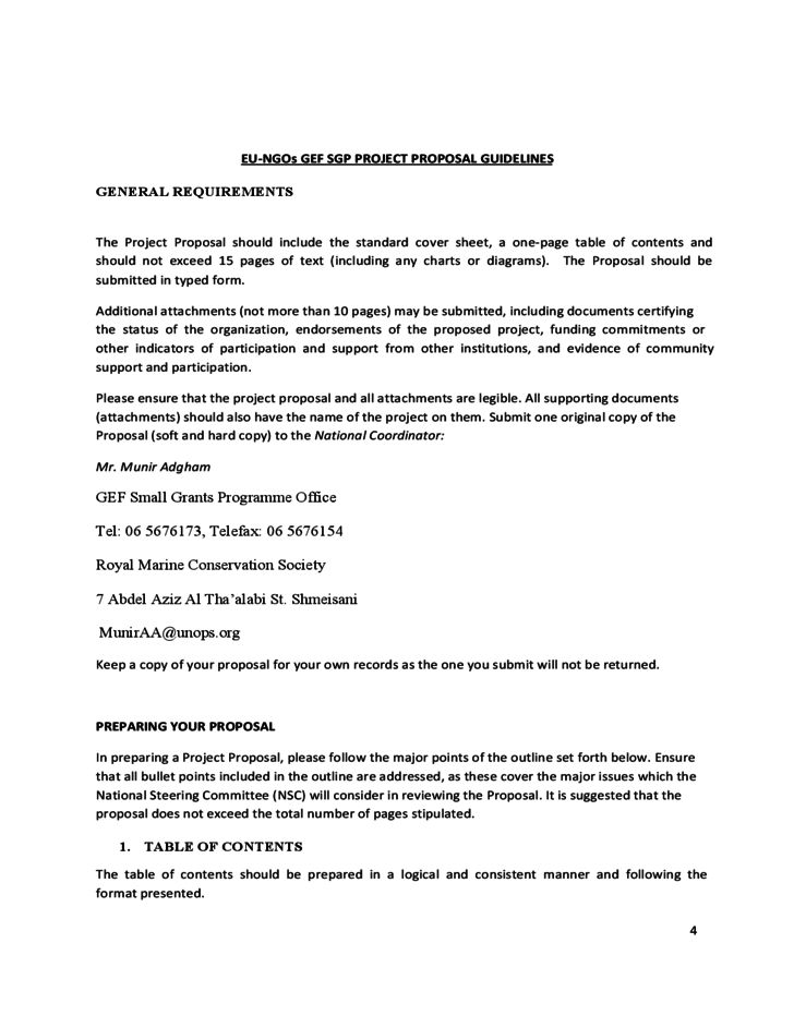 EU-NGOs Project Proposal Template - UNDP Free Download