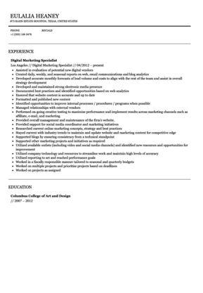 sample marketing specialist resume