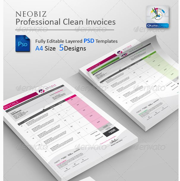 Download NeoBiz Clean Invoice PSD Templates Free