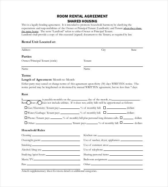 Room Rental Contract Template Free Roommate Rental Agreement