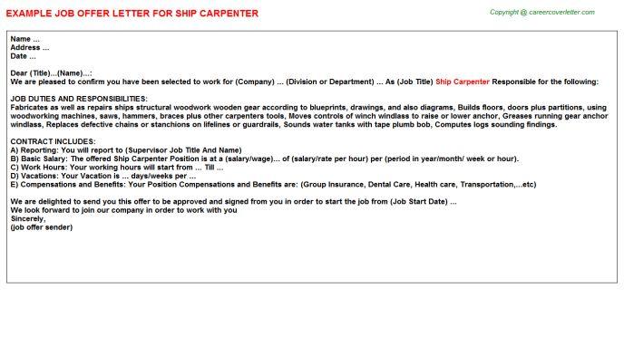 Ship Carpenter Offer Letter