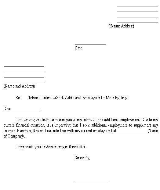 Sample Letter for Notice of Intent to Seek Additional Employment ...