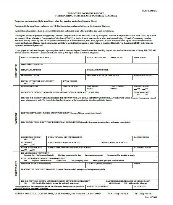 Sample Employee Incident Report Template   10+ Free Documents .  Injury Incident Report Form Template