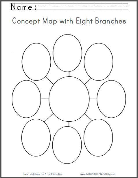 Concept Map with Eight Branches | Free Printable Worksheet ...