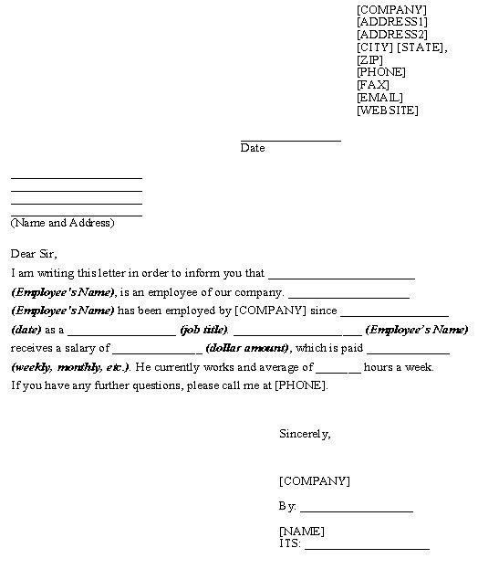 Printable Sample Letter Of Employment Verification Form | Laywers ...