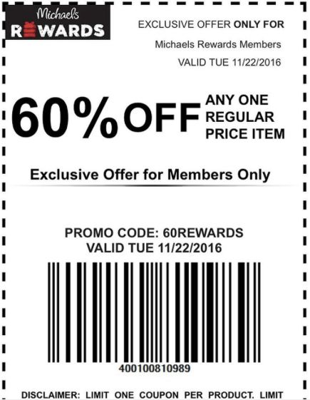 Michael's 60% off (1) Regular Price Item Coupon - The Accidental Saver