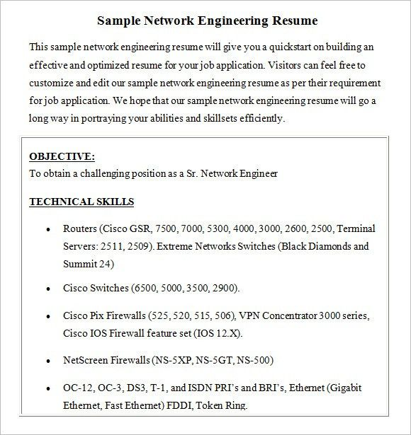 Network Engineer Resume – 8+ Free Samples , Examples , Format