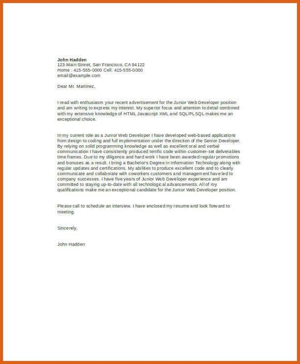 web developer cover letter | apa examples