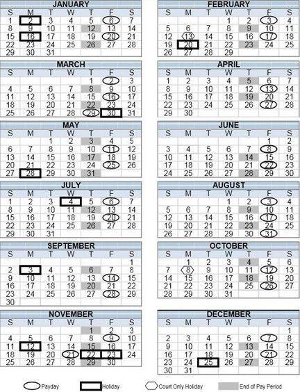 Federal Payday Calendar | Calendar Picture Templates