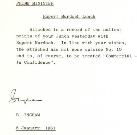 In confidence': Murdoch and Thatcher had secret meeting at ...