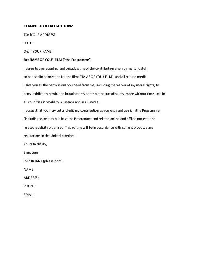 Film Release Form. Mda2900: Book Trailer Director'S Paperwork ...