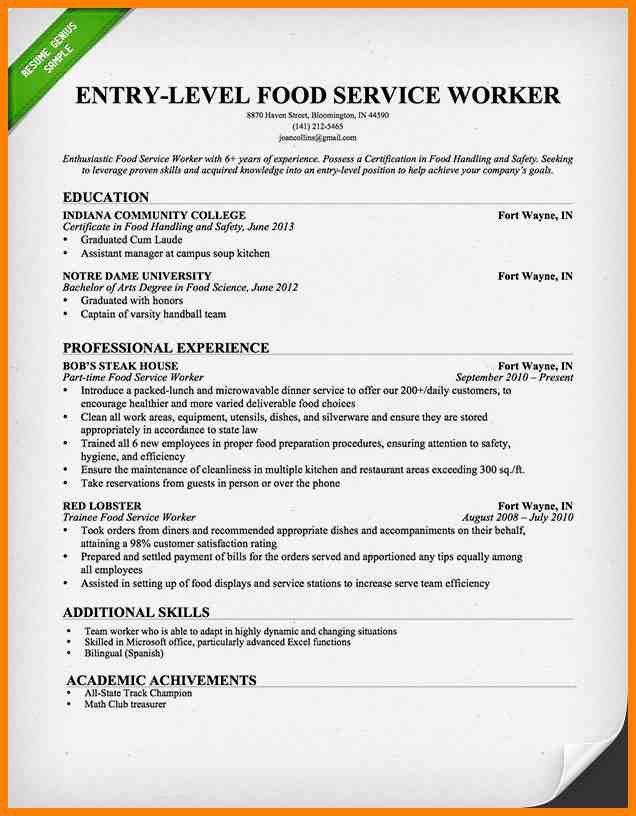food service worker resume sales worker lewesmr. hr clerk sample ...