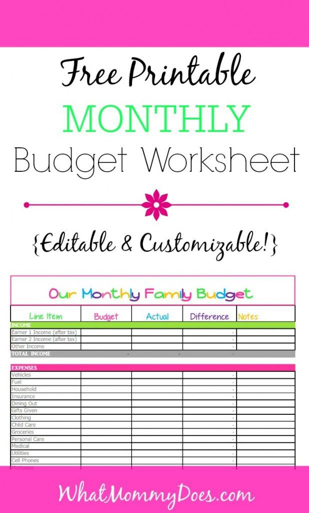 Free Monthly Budget Template - Cute Design in Excel | Monthly ...
