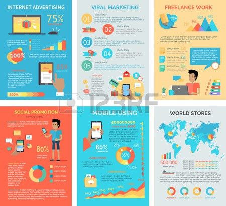 Set Of Internet Technology Infographic Vectors. Flat Style ...
