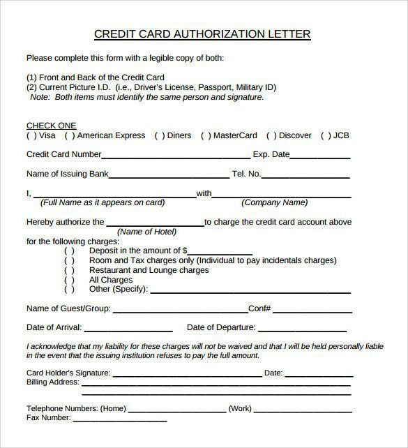 Sample Credit Card Authorization Letter. Authorization Letter ...