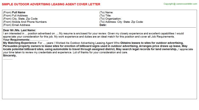 Outdoor Advertising Leasing Agent Cover Letter