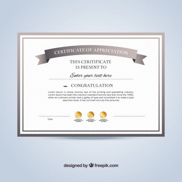 Certificate of appreciation template Vector | Free Download
