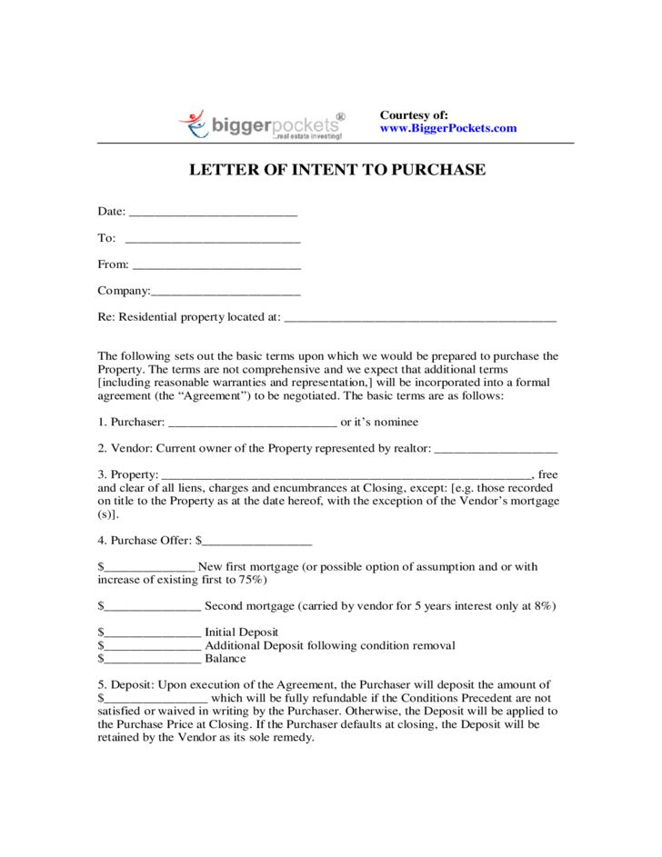 Letter of Intent to Purchase Free Download