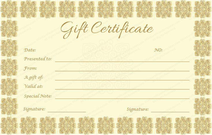 Golden Gift Certificate Template #giftvoucher #giftcard ...