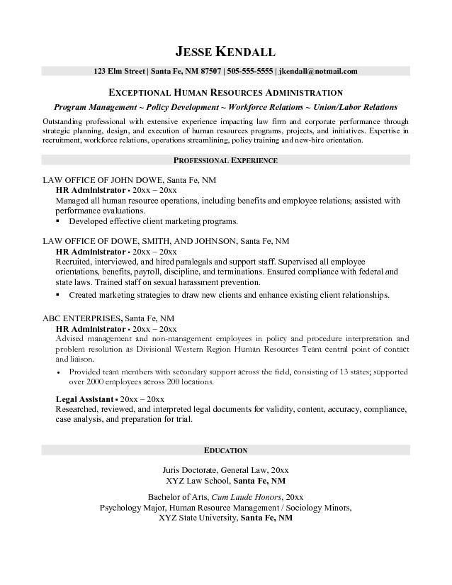 Free Human Resources Administrator Resume Example