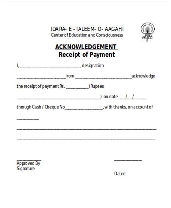 Acknowledgement Receipt Sample [Nfgaccountability.com ]