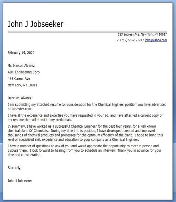 Chemical Engineering Cover Letter | Chemical Engineer | Pinterest ...
