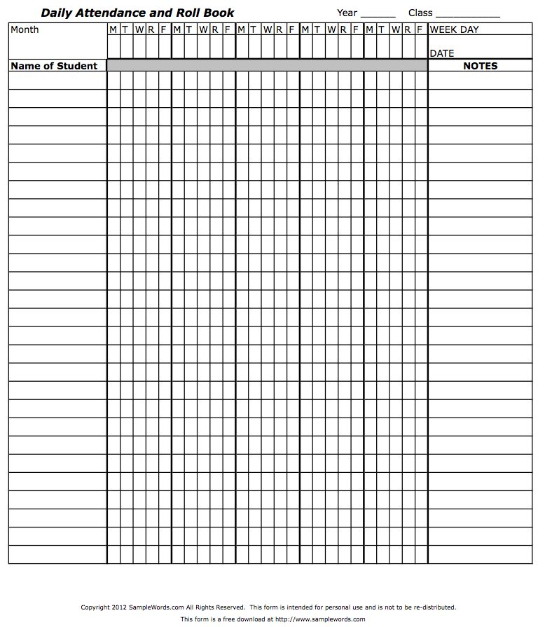 Teacheru0027s Attendance And Roll Book  Printable Attendance Sheet For Teachers