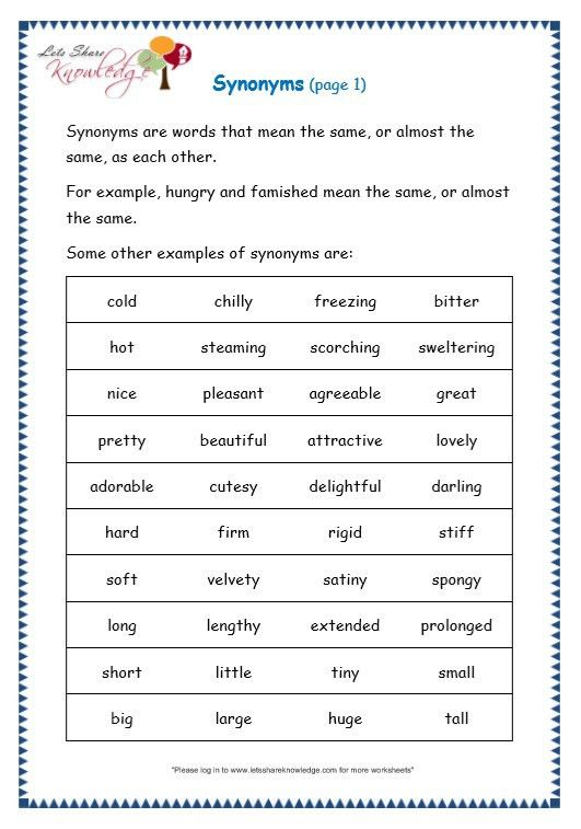 Grade 3 Grammar Topic 27: Synonyms Worksheets - Lets Share Knowledge