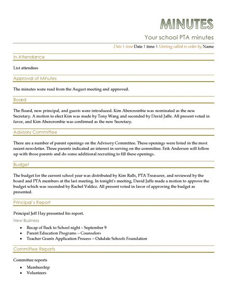 PTA meeting minutes - Office Templates