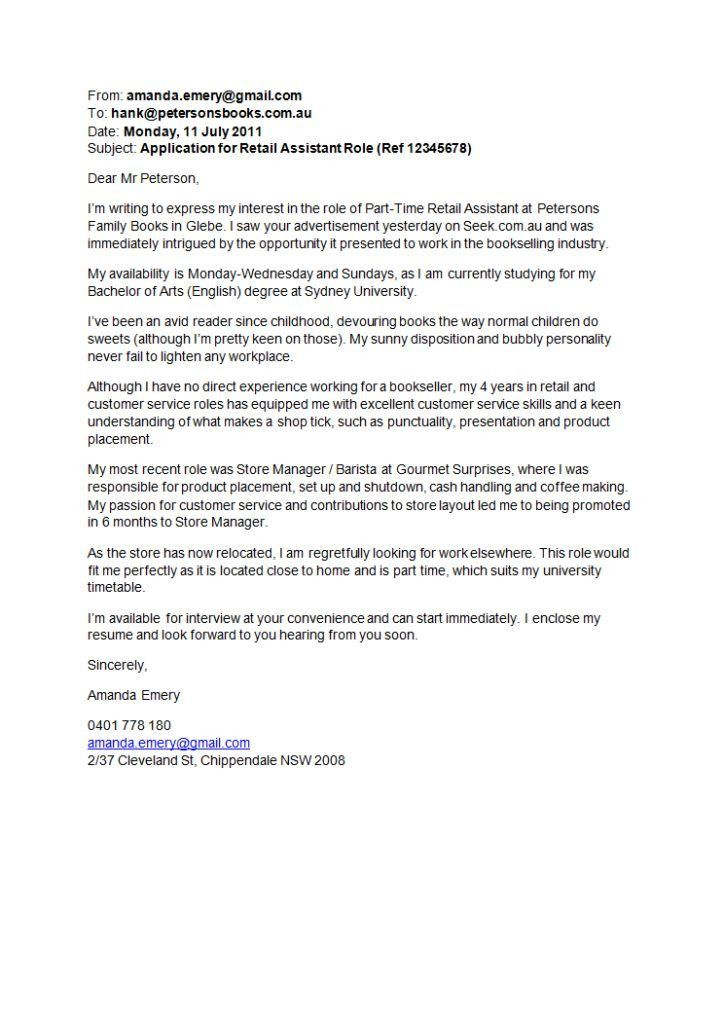 Retail Manager Cover Letter Retail Sales Assistant Cover Letter ...