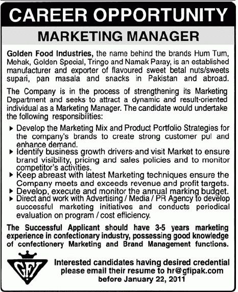 Golden Food Industries (GFI) Job, Marketing Manager Required 17 ...
