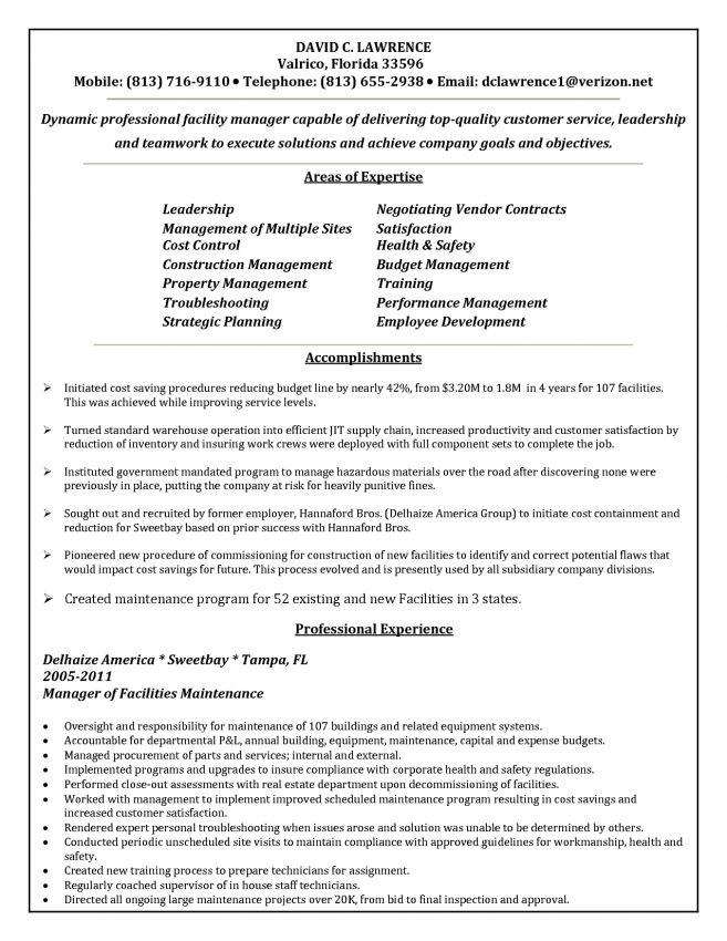 10 Building Maintenance Resume Examples Resume facilities ...