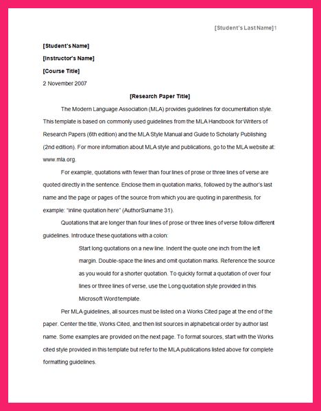 mla format research paper | bio letter format