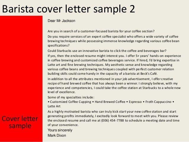 Barista cover letter