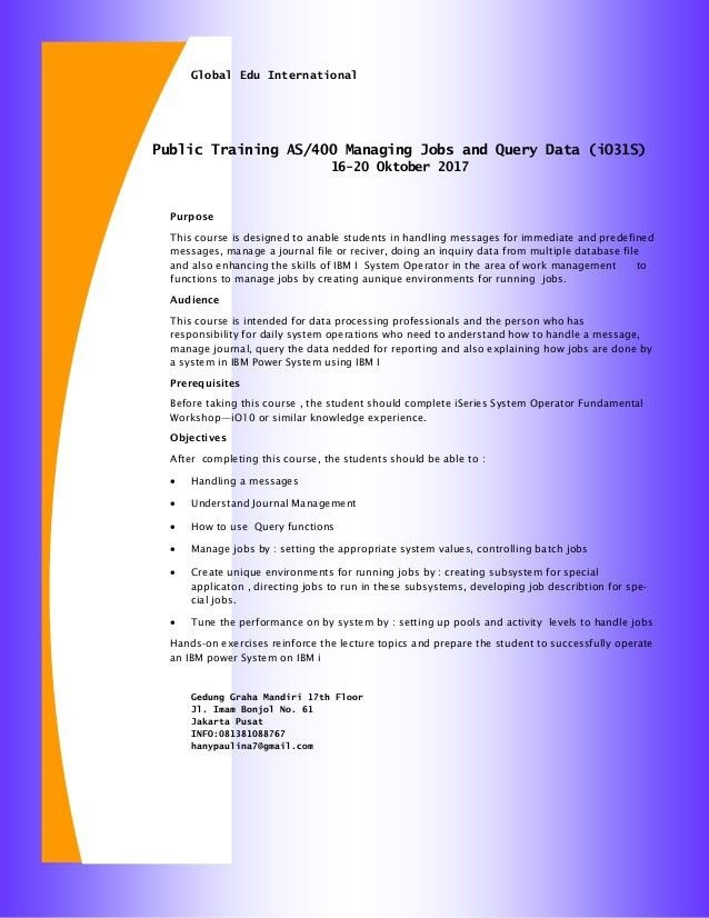 Public Training AS/400 Managing Jobs and Query Data (16-20 Oktober 20…